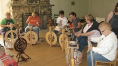 Spinning in the lodge.