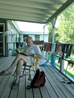 Reading on the porch.