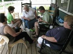Bill teaches steeking on the porch.