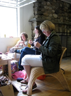 Knitting in the lodge.